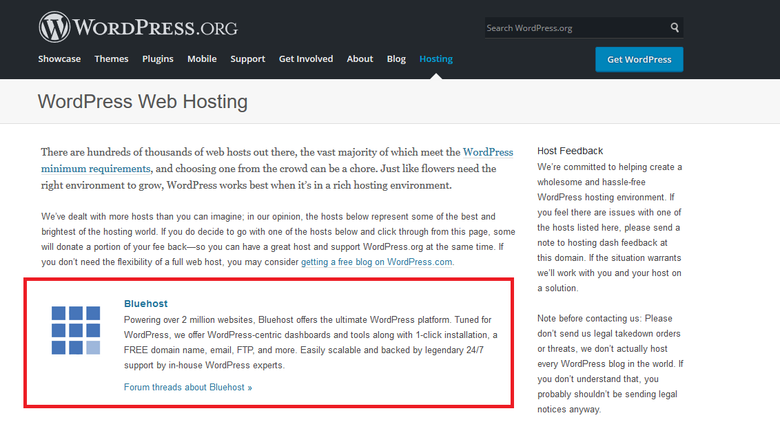 wordpress recommeds bluehost
